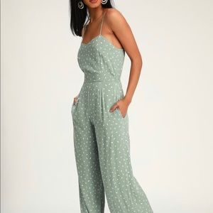 Lulus Sage Print Sleeveless Wide-Leg Jumpsuit